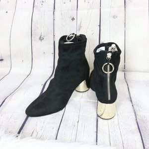 Zara Black Faux Suede Booties Gold Metallic heel